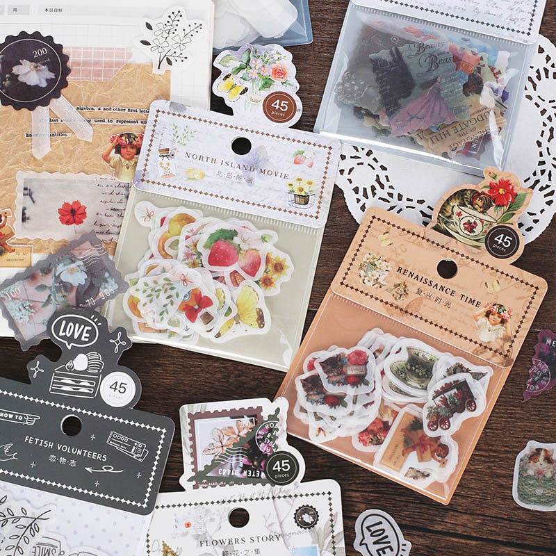 45Pcs Retro Decorative Stickers Kawaii Cat Stationery Stickers Paper Adhesive Sticker For Kids DIY Scrapbooking Diary Supplies
