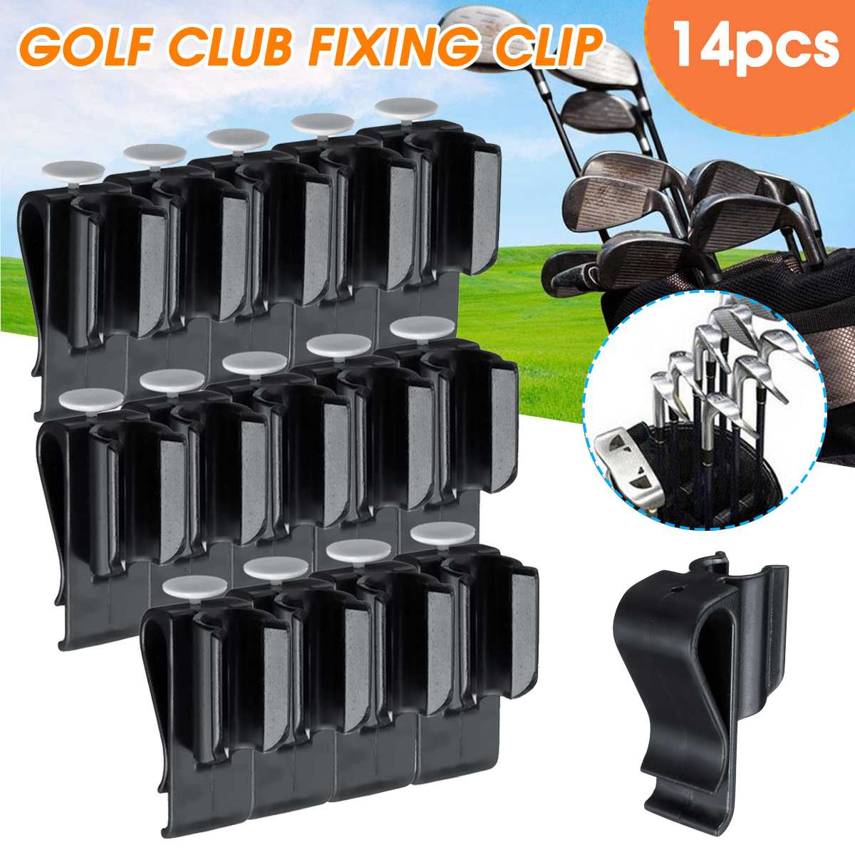 Premium 14 Pcs Sports Golf Bag Clip On Putter Clamp Holder Putting Organizer Club Golf Club Grips Golf Equipment