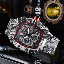 AAA Richard automatyczny zegarek RM męskie zegarki Top marka Mille luksusowy zegarek kwarcowy pasek silikonowy kształt Tonneau tanie tanio Nicesnowl adjustableinch Luxury ru QUARTZ NONE 10Bar Przycisk ukryte zapięcie CN (pochodzenie) Wolfram stali Szafirowe
