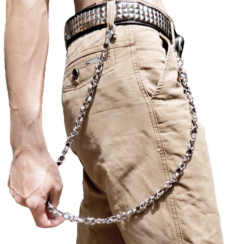 Череп байкер жан брелок цепи Черный Рок Панк Хип хоп металлический брелок брюки пояс цепь Модные мужские аксессуары ювелирные изделия DR45|Брелоки|   | АлиЭкспресс