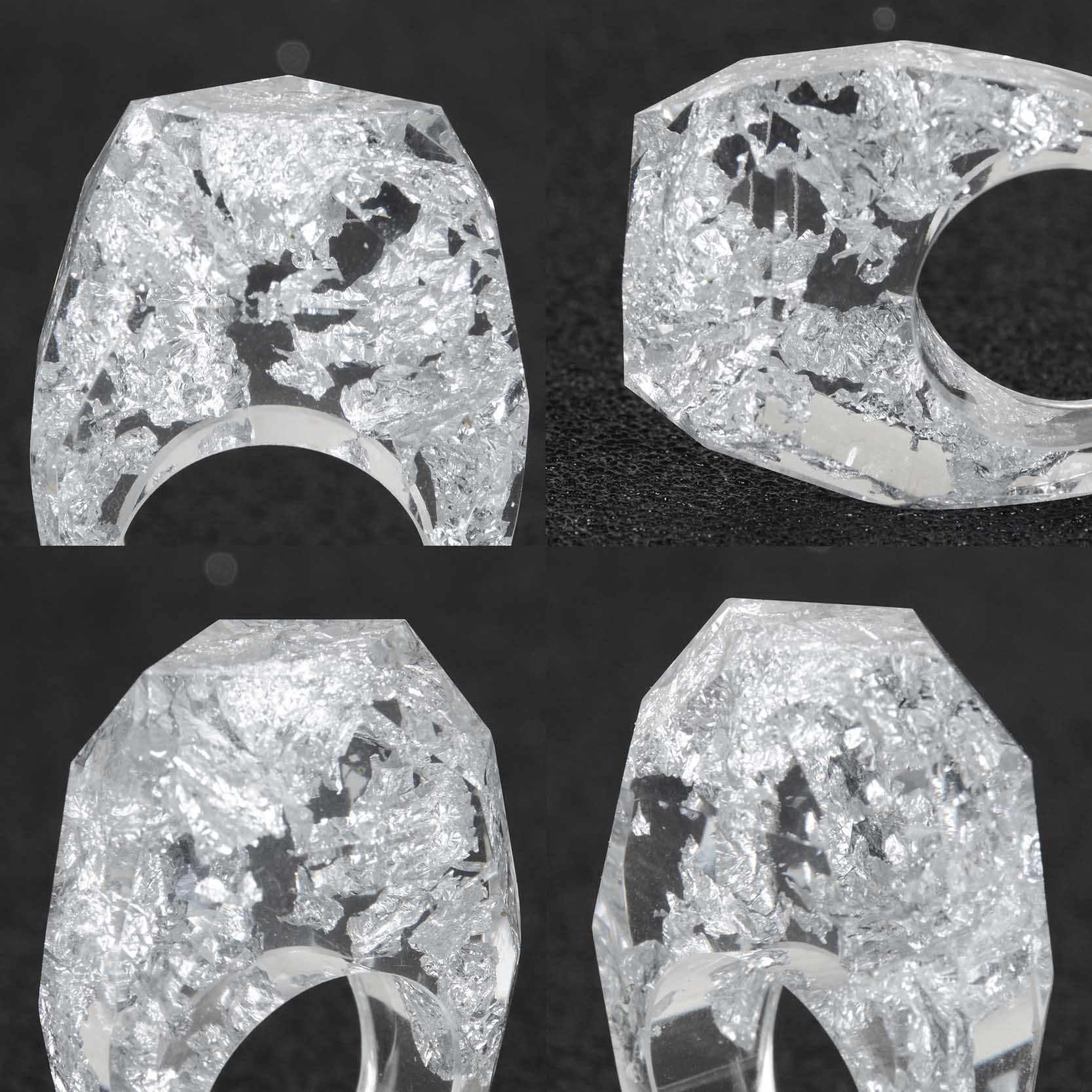 2019 อบแห้งเงินทองฟอยล์กระดาษเรซิ่นแหวนสำหรับสุภาพสตรีปาร์ตี้จัดงานแต่งงานแหวนนิ้วมือเครื่องประดับ