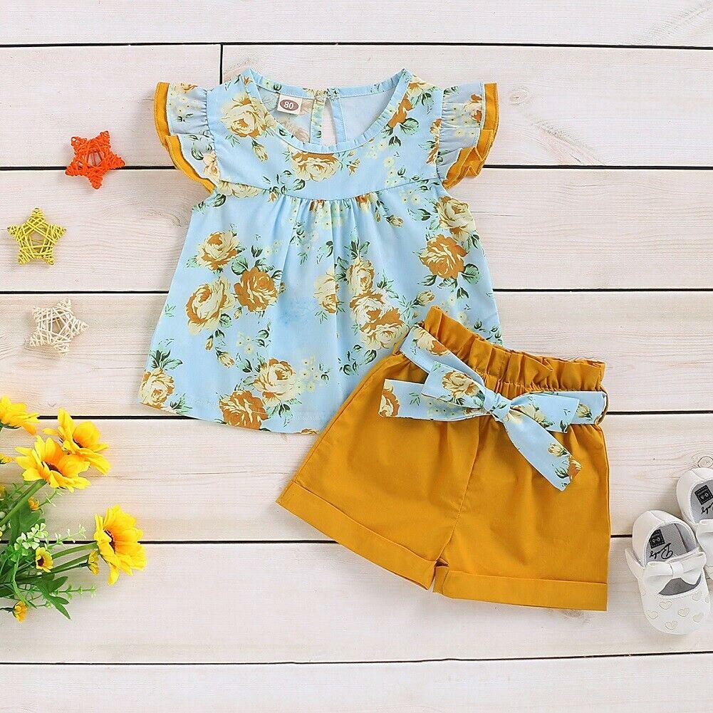 Girls Clothing Sets 2020 Summer Brand Kids Clothes Flower Short Sleeve T-Shirt+ Bow Shorts 2Pcs Toddler Children Set 1-6 Years