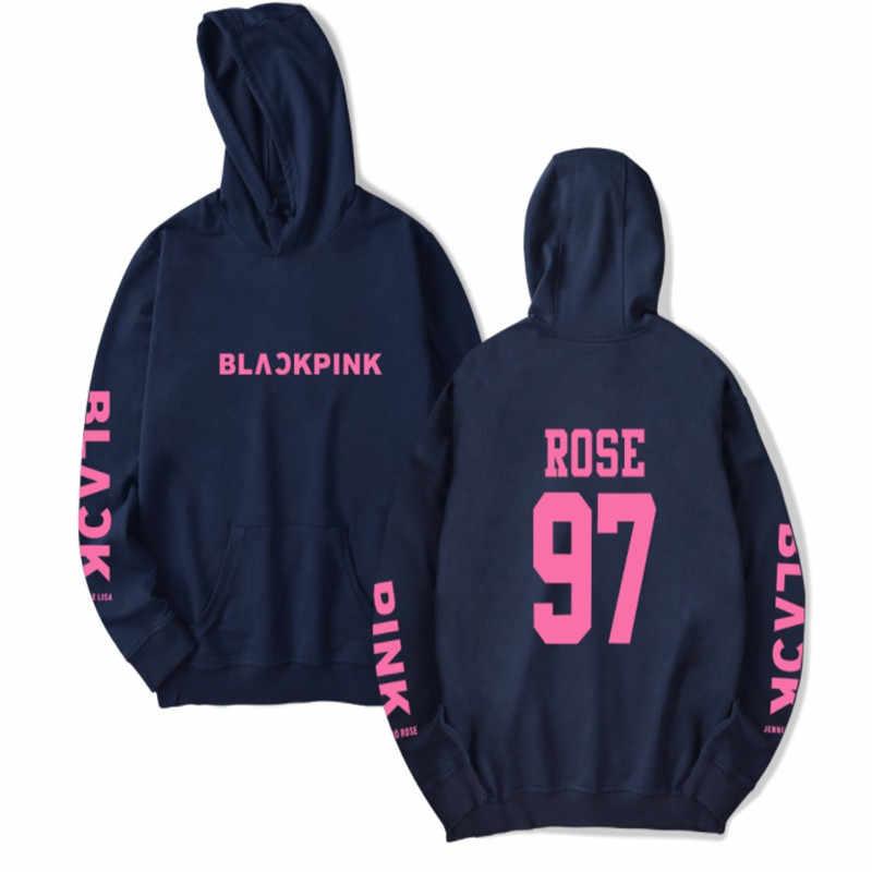 2019 moda kpop blackpink rosa concerto álbum hoodie hip hop estilo casual solto plus size roupas com capuz pulôver impresso