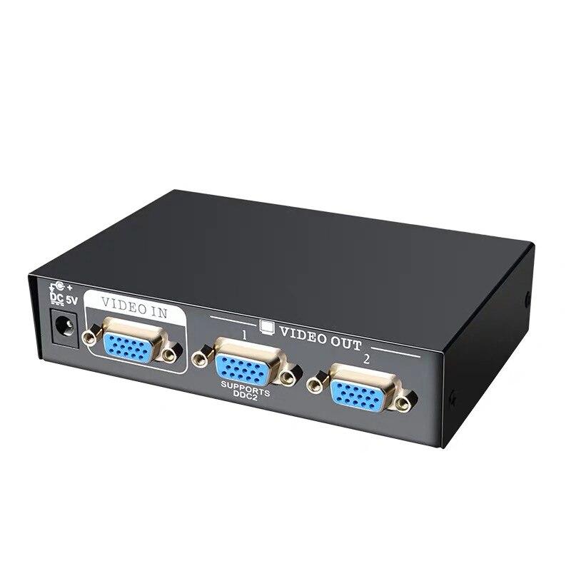 Divisor vga 1 em 2 para fora mini 2 portas vga caixa de adaptador monitor switcher divisor para lcd computador monitor computador portátil projetor