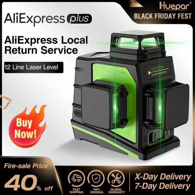 Huepar niveau Laser 3D vert 12 lignes croisées nivellement automatique, projection à 360 degrés et recharge sur prise USB