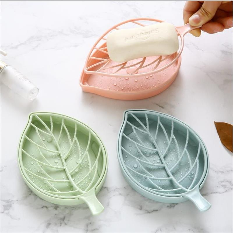 VIERUODIS Creative Bathroom Desktop Leaf Shape Plastic Soap Box Kitchen Portable Sponge Storage Drain Box Double Soap Box