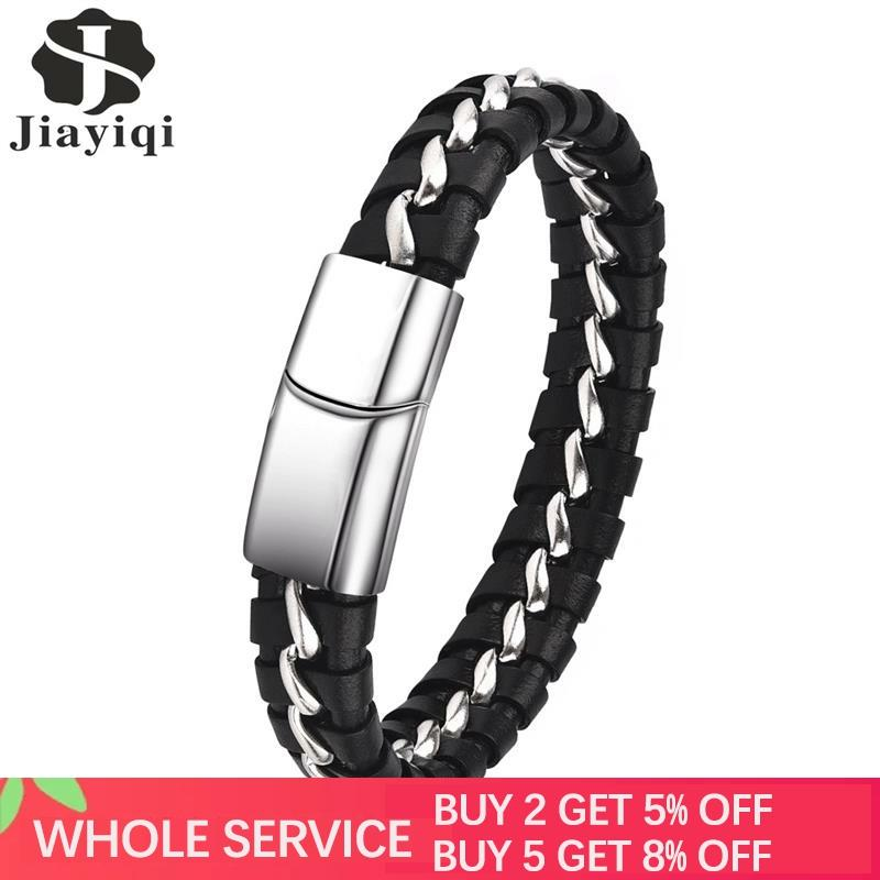 Jiayiqi Fashion Genuine Leather Bracelet for Men Stainless Steel Bangles Punk Braided Rope Chain Vintage Wrist Jewelry Male Gift