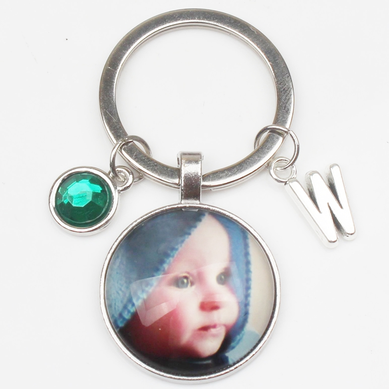 New 8 Color Crystal Personalized Photo Pendant Letters Custom Keychain Baby Photo Children Mom Dad Grandparents Like Family Gift in Key Chains from Jewelry Accessories