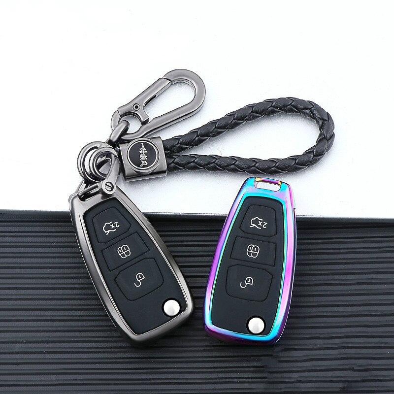 Housse de clé de voiture en alliage galvanisé, pour Ford Focus 3 Ecosport, Kuga Edge MK3, Fiesta, Titanium Fusion