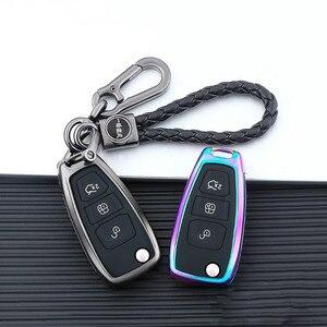 Galvanized Alloy Buttons Car Key Case Cover For Ford Focus 3 Ecosport Kuga Edge MK3 Fiesta Titanium Escape Fusion