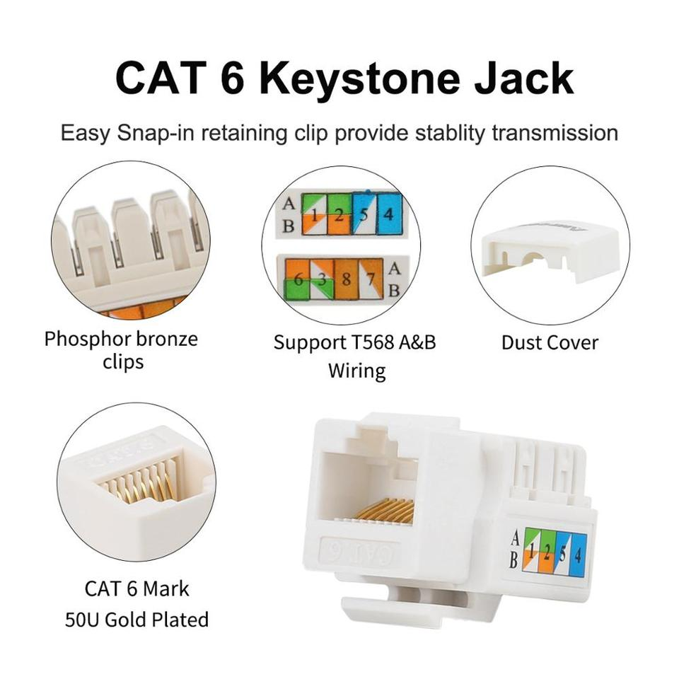 Cat6 Keystone Jack Ampcom Snap In Rj45 Punch Down Cat 6 Keystone Module Adapter 100 1000 Mbps Utp Compatible With Cat 6 Cat 5e Aliexpress
