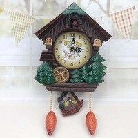 집 모양 벽 시계 뻐꾸기 시계 빈티지 버드 벨 타이머 거실 진자 시계 공예 미술 시계 시계 홈 장식 1 pc