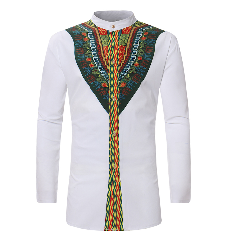 Brand Men Shirt African Print Rich Bazin Dashiki Long Sleeve Casual Shirts Traditional Stand Collar Pullover Adult Blouse