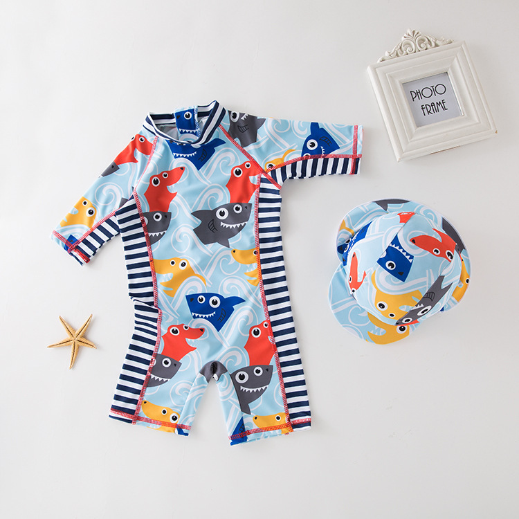 Men's One-piece Swimming Suit Blue Shark Head Yin Hua Kuan KID'S Swimwear Hot Springs Clothing