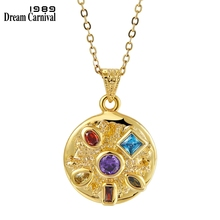 Dreamcarnival1989 Dazzling Golden Color Zircon Pendant Necklace with Infinity 6 stones Bezel Setting Chic Friday Jewelry WP6631