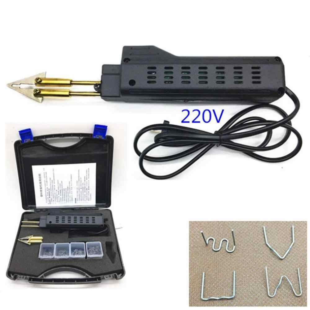 Nuevo 220-250V engrapadora caliente coche parachoques plástico soldadura antorcha carenado Auto cuerpo herramienta soldadora eléctrica máquina 0,6/0,8mm + 200 grapas