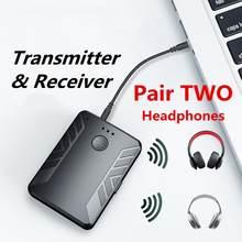 EastVita Bluetooth 5,0 Audio Sender Empfänger Paar mit ZWEI Kopfhörer 3,5mm AUX RCA Wireless Adapter für TV PC Auto lautsprecher