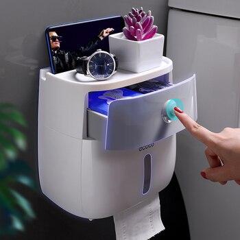 Soporte de papel higiénico impermeable porta toallas de papel de plástico montado en la pared Caja de almacenaje para estante de baño portarrollos de baño portátiles