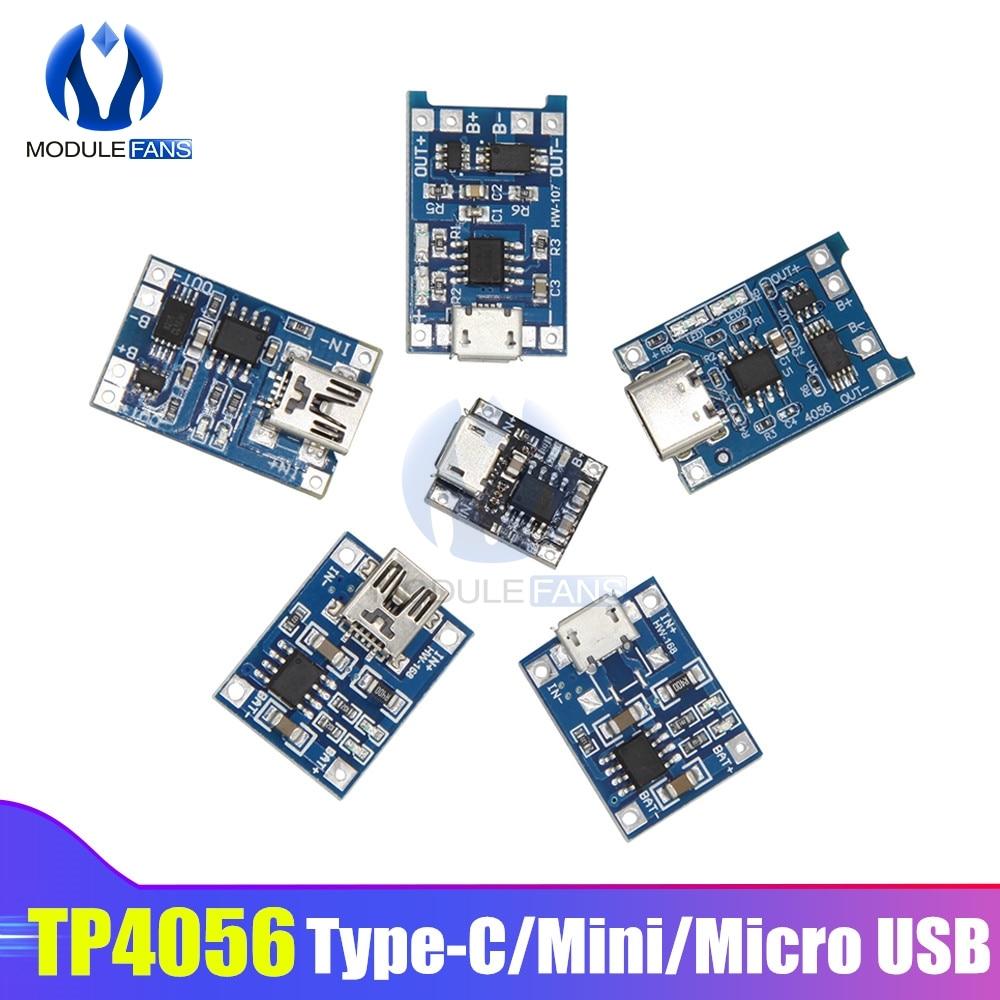 Tp4056 tipo-c/micro/mini usb 5 v 1a 18650 módulo carregador de bateria de lítio placa de carregamento funções duplas li-ion tc4056a tc4056