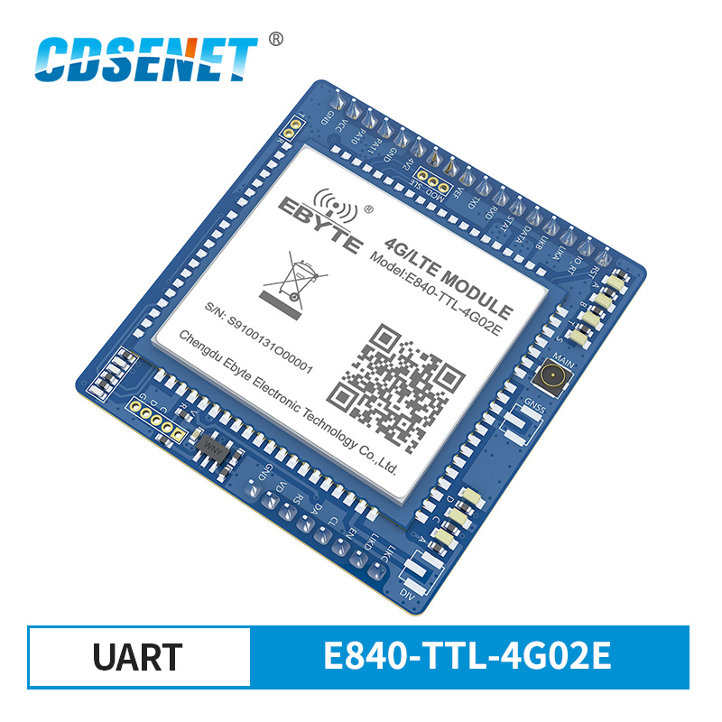 E840-TTL-4G02E 4G LTE IPX Interface TTL UART Wireless Transceiver LTE-FDD WCDMA GSM Serial Port To Server Bidirectional Module