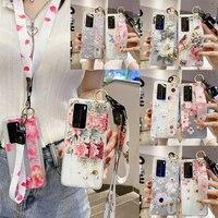 Funda Floral 3D para Samsung GALAXY NOTE 8, 9, 10, S8, S9, S10, S20, Ultra, S11E Plus Lite, funda y cordón