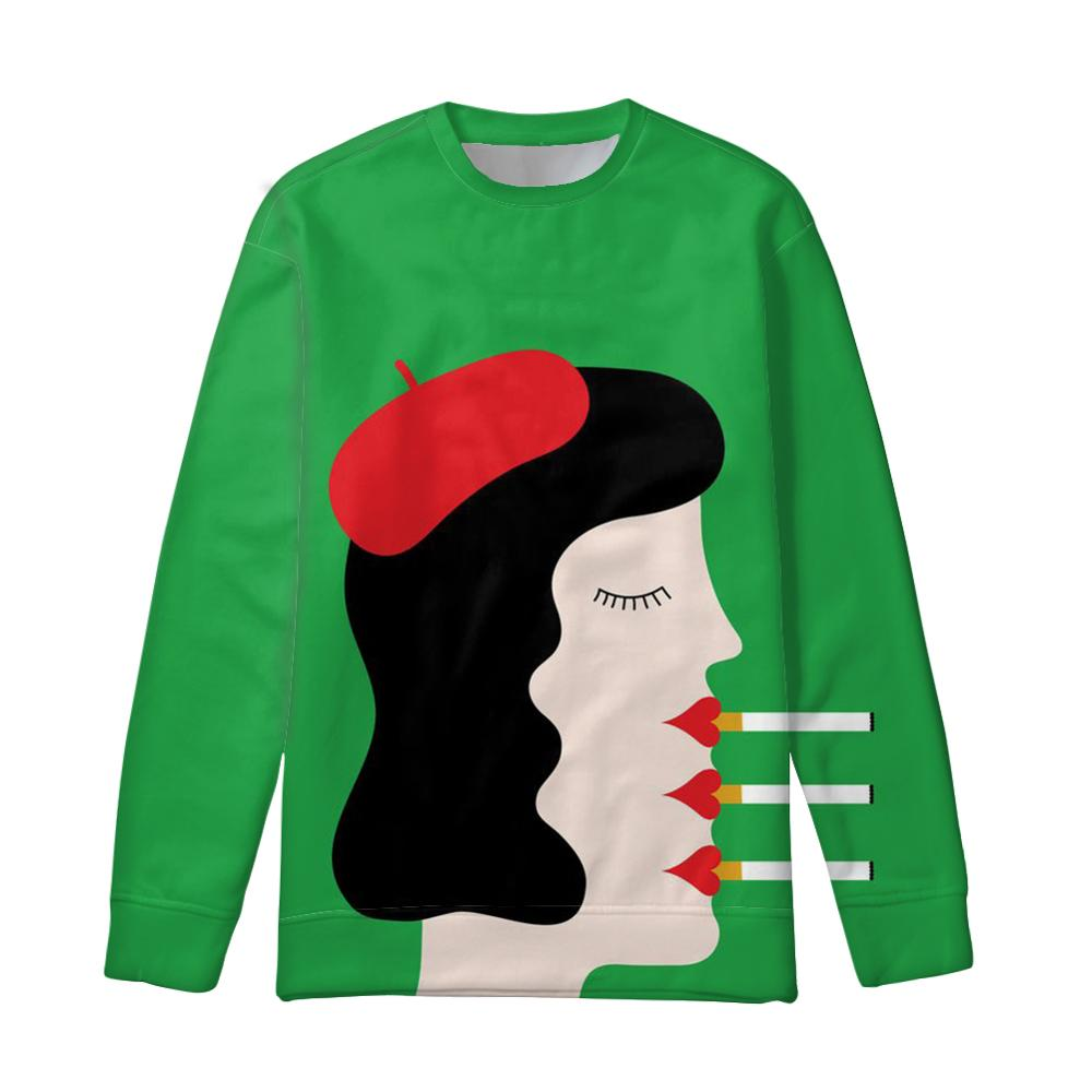 NOISYDESIGNS Art Girls Printed Women Hoodies Spring Green Long Sleeve Sweatshirt O-neck Pullovers Sudaderas Autumn Winter Custom