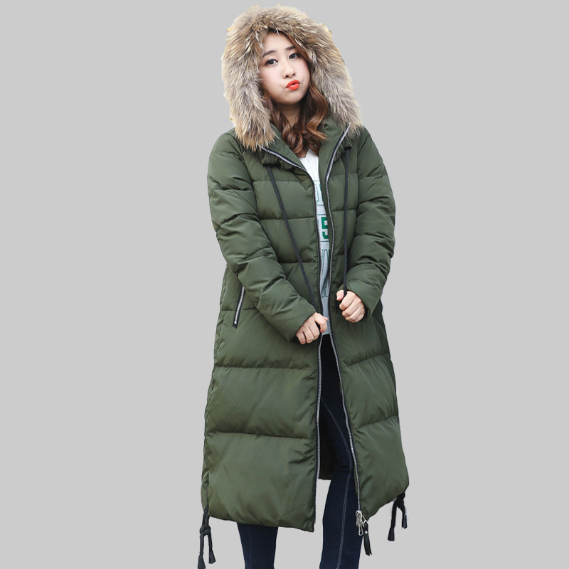 Womens Down Jacket Raccoon Fur Collar 90% Duck Down Coat Female Warm Winter Parkas Plus Size 5XL 6XL 7XL 10XL Casaco 510
