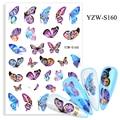 Красивые 3D наклейки для ногтей в виде бабочек, фиолетовые, синие разноцветные крылья, маникюрные слайдеры, бабочки, фольга, украшения для ди...