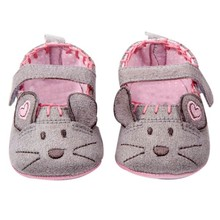 Cotton Grey Pink Cartoon Mouse soft with Pattern Shading soft sole First Walkers baby