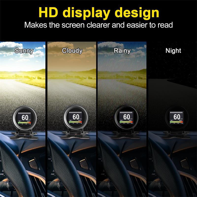 MR CARTOOL M3 Car OBD2 HUD Head-Up Display GPS Speedometer Overspeed Warning Oil Water Temp Gauge Digital OBD2 Diagnostic Tool 4