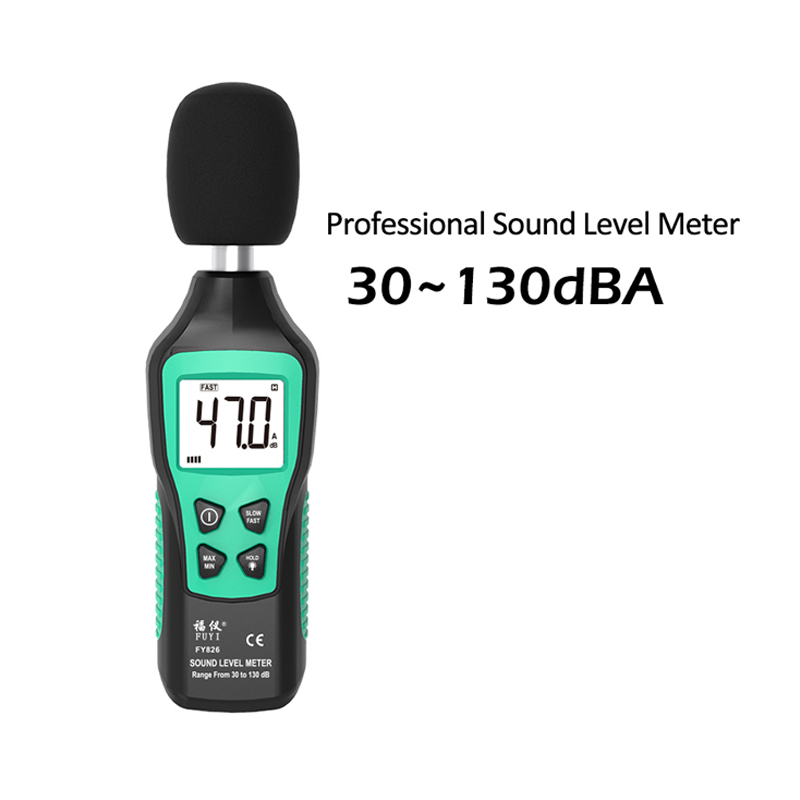 Digital Sound Level Meter 30-130dB Noise Volume Measuring Instrument Decibel Monitoring Tester Fast/Slow Two Modes Sound Meter
