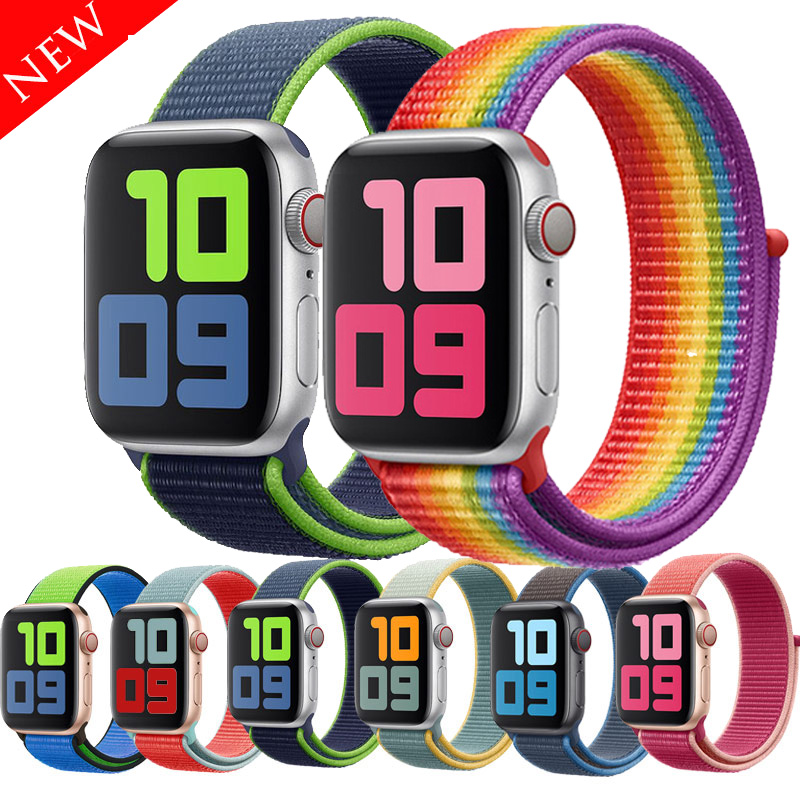 Hook Loop Nylon Strap For Apple Watch Series 5 4 3 2 Bands 40mm 44mm Breathable Replacement Sport Loop For Iwatch 38mm 42mm NEW