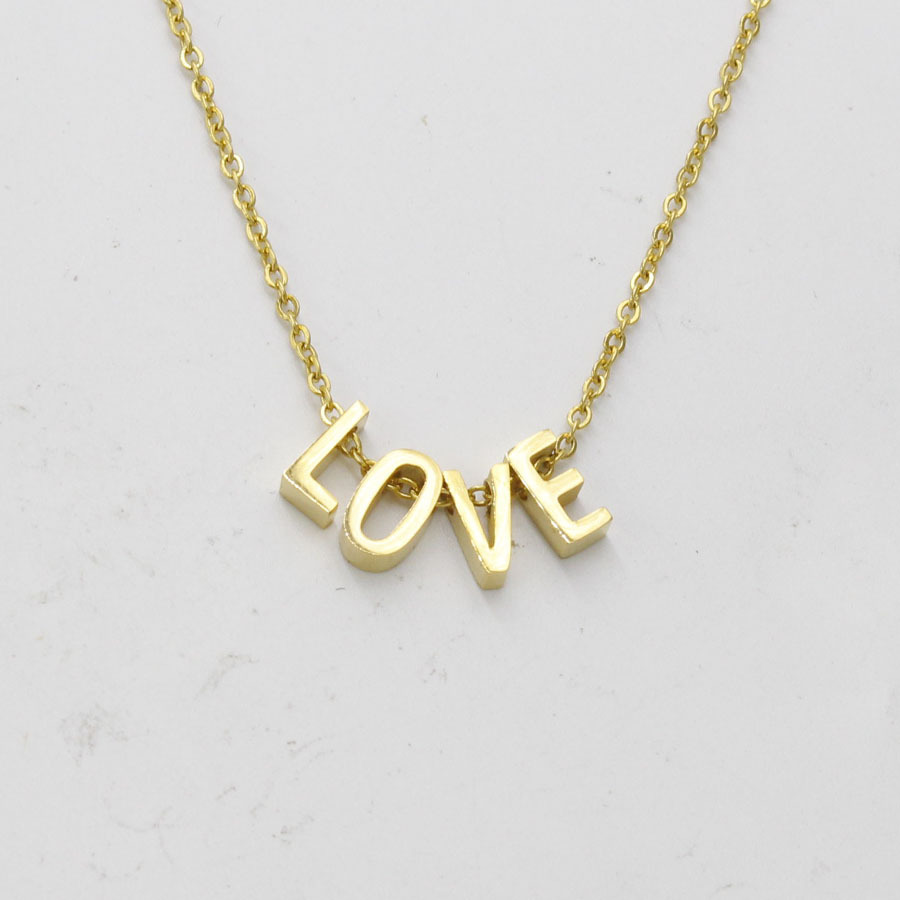 Fashion Letter Custom Necklace Stainless Steel 3D Letter/Heart/Chain/Choker/Necklace Rose Gold Silver initial Necklaces Women