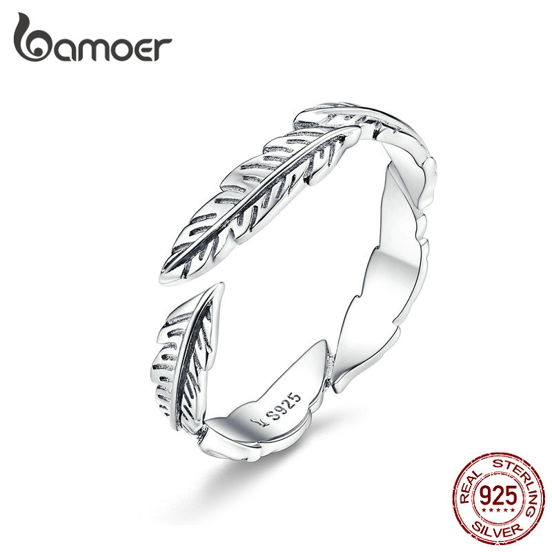 BAMOER 100% Pure 925 Sterling Silver Boho Style Feather Free Size Adjustable Finger Rings for Women Vintage Fine Jewelry SCR517(China)
