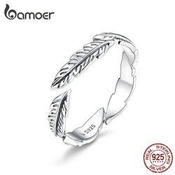 BAMOER 100% saf 925 ayar gümüş Boho tarzı tüy ücretsiz boyutu ayarlanabilir parmak yüzük kadınlar için Vintage güzel takı SCR517