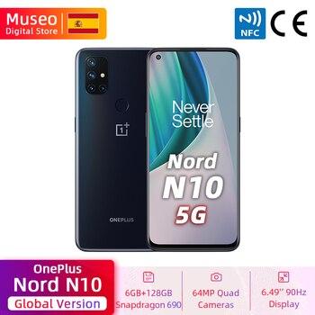 Перейти на Алиэкспресс и купить Глобальная версия OnePlus Nord N10 5G мобильный телефон 6 ГБ 128 Snapdargon 5G 6,49 ''90 Гц FHD + безрамочный экран с Дисплей Warp заряжайте 30T NFC