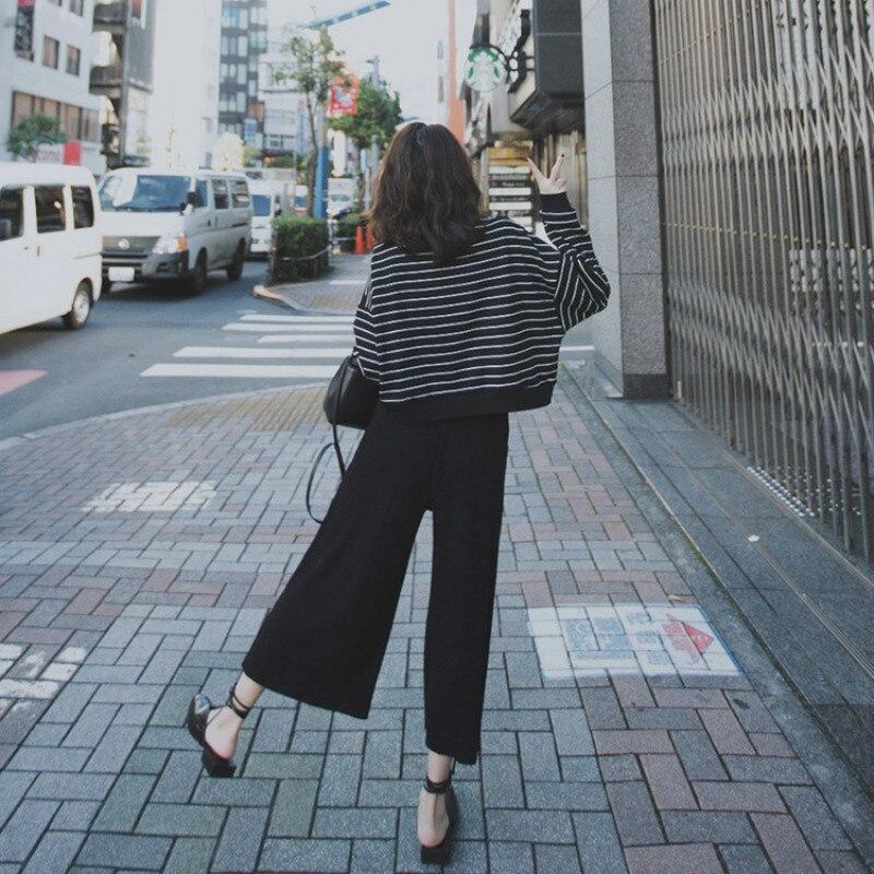 Fall 2019 New Short Stripe Top Two-piece Black Broad-legged Pants sets