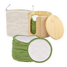 16 pçs pçs/set removedor de maquiagem reutilizável almofadas lavável rodadas limpeza facial algodão maquiagem remoção almofadas com recipiente de madeira