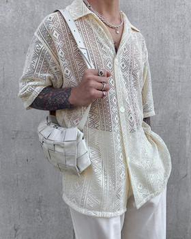 Men's Clothing 2021 European American Autumn Thin Japanese Cut-out Shirt Lapel Slim Buttoned Shirt Camisas Para Hombre 1
