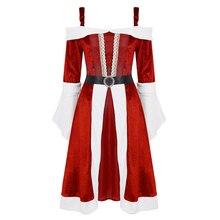 Cosplay Costume Santa-Claus Miss Xmas-Dress Women Midi Soft with Belt Sleeve Velvet Long-Flared