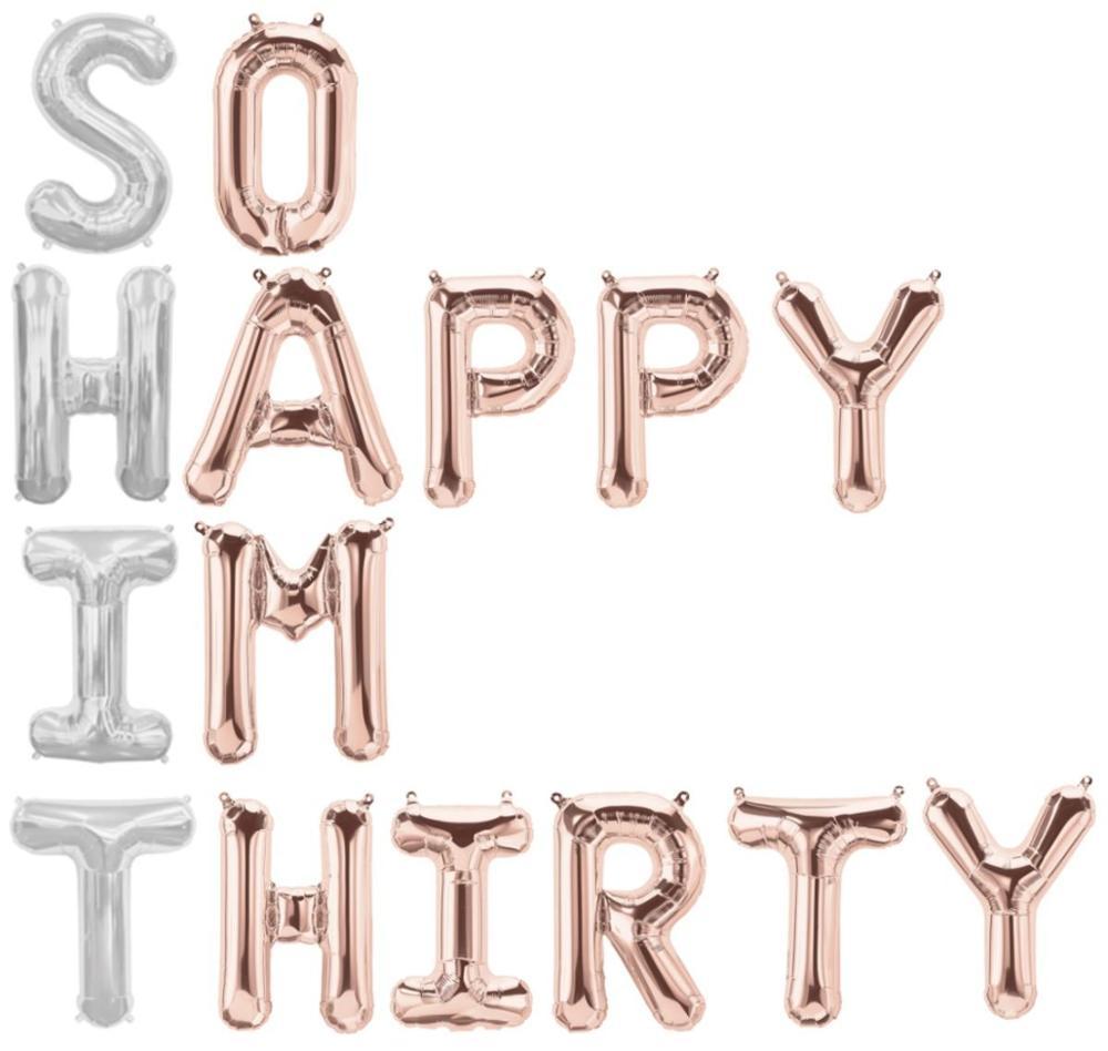 So Happy IM тридцать воздушных шаров из розового золота 30th праздничных воздушных шаров