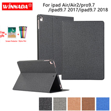 For ipad 9.7 2017 case linen grain PU leather Stand Protective TPU Cover for ipad air 2/air /pro 9.7/ipad 2017/ipad 9.7 2018 стоимость