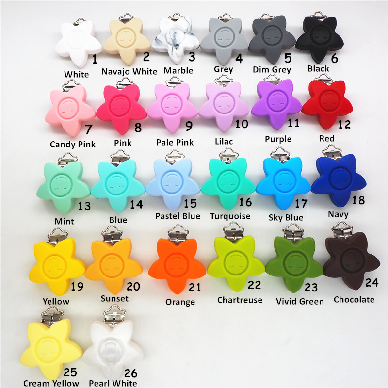 Chenkai 20PCS Silicone Flower Smile Face Pacifier Dummy Teether Holder Clips DIY Star Baby Soother Toy Accessories ClipBPA Free
