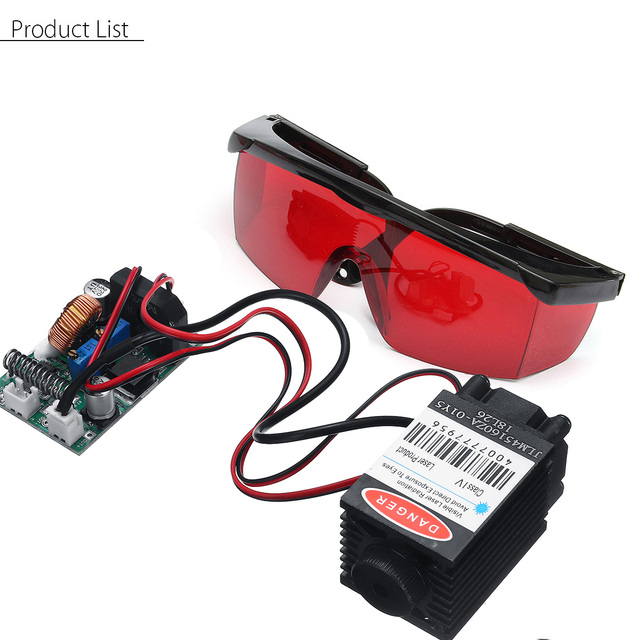 2.5W 450nm Blue Laser Module TTL 12V Focusable High Power + Goggles for CNC Cutting Laser Engraving Machine Woodworking Parts