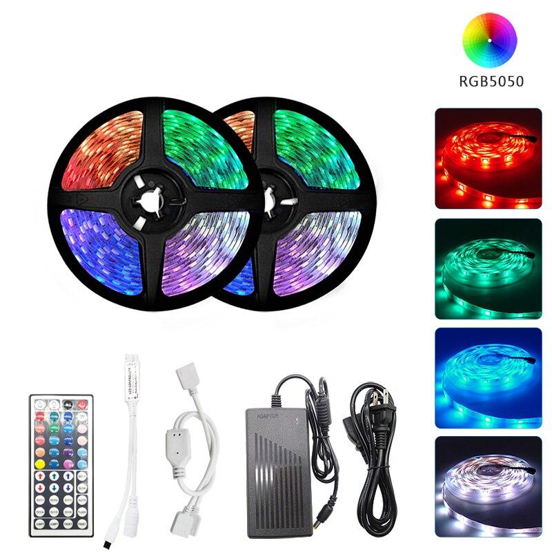 RGB LED Strip Light SMD 2835/5050 5M Waterproof RGB Tape DC12V Ribbon diode led Strips Light Flexible Stripe Lamp IR Controller(China)