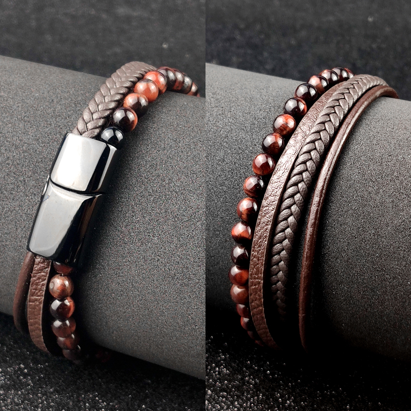 Bracelet à perles en cuir pour hommes, corde en acier inoxydable, pierre naturelle et magnétique, bracelet en pierre volcanique, chaîne cadeau 5