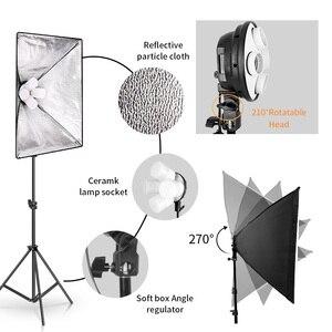 Image 4 - Sh Softbox Verlichting Kit 50X70Cm Fotografie Continue Licht Box Voor Foto Studio Met 8Pcs E27 Socket verlichting Lampen