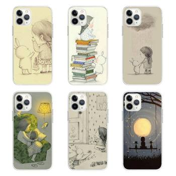 YNDFCNB Daydream girl and her rabbi Phone Case Soft Transparent TPU Phone Case for iPhone 6 6s plus 7 8 plus xr xs max 11pro max image
