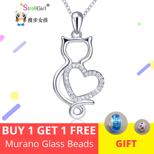 StrollGirl Cute Kitty Necklace Girl 925 Sterling Silver Cat Cubic Zirconia Love Heart Pendant Necklace For Women Fashion Jewelry