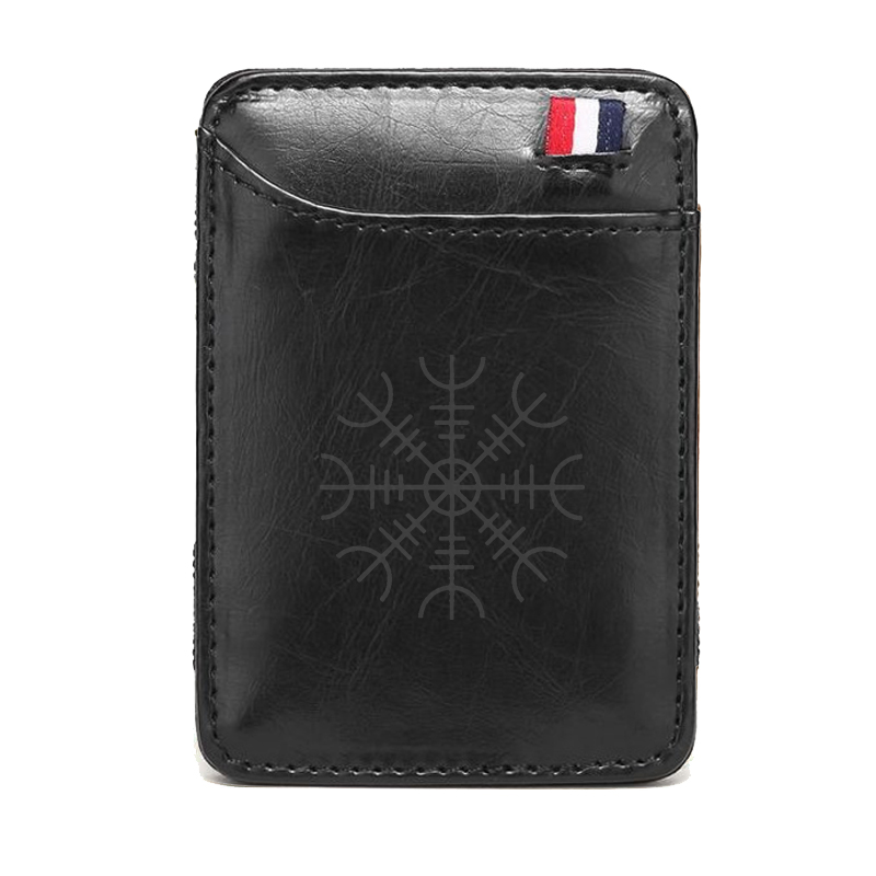 Classic Black Norse Vikings Leather  Magic Wallets  Men Women Money Clips Card  Mini Purse Cash Holder Gifts